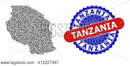 Music Notes Pattern For Tanzania Map And Bicolor Textured Rubber Stamp
