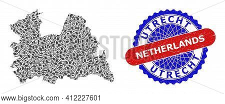 Music Notation Mosaic For Utrecht Province Map And Bicolor Grunge Stamp Badge