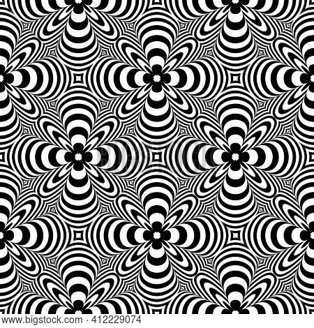 Abstract seamless op art black and white pattern.