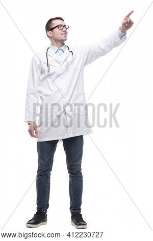 male doctor with a stethoscope. isolated on a white