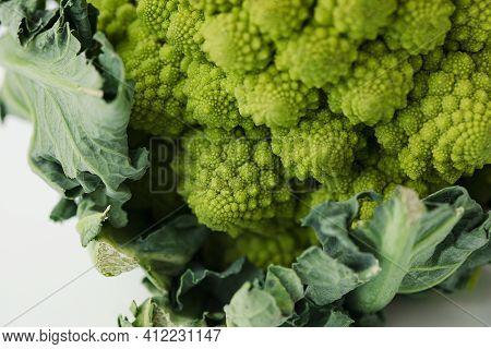 Fresh Diet Agricultural Romanesque Cauliflower On White Background