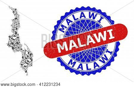 Music Notation Pattern For Malawi Map And Bicolor Textured Stamp