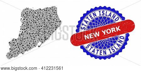 Musical Collage For Staten Island Map And Bicolor Distress Seal Stamp