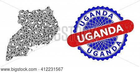 Melody Notes Collage For Uganda Map And Bicolor Grunge Seal Stamp