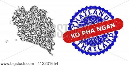 Musical Collage For Ko Pha Ngan Map And Bicolor Scratched Seal