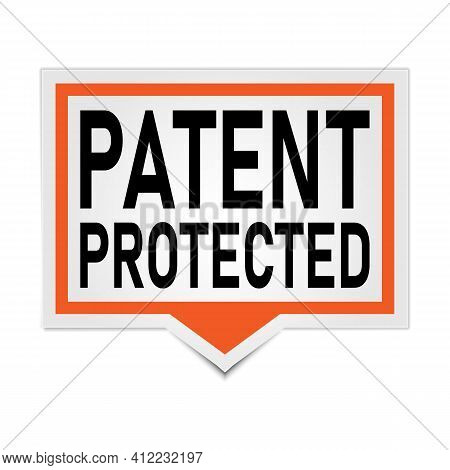Red Vector Banner Patent Protected Speech Bubble