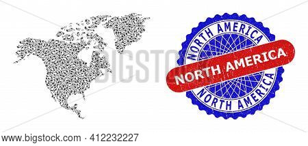 Music Notation Mosaic For North America Map And Bicolor Distress Stamp Badge