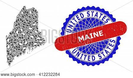 Music Notation Pattern For Maine State Map And Bicolor Textured Rubber Stamp