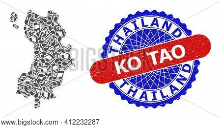 Melody Notes Pattern For Ko Tao Map And Bicolor Distress Stamp