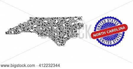 Music Notation Pattern For North Carolina State Map And Bicolor Distress Seal