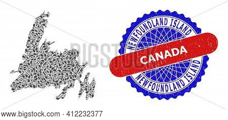 Music Notation Mosaic For Newfoundland Island Map And Bicolor Textured Stamp