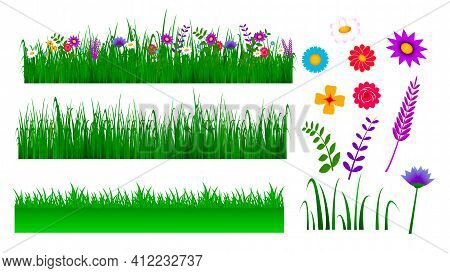 Set Of Green Grass Border Illustration Or Lanscape Grass With Blossom Or Green View Grass With Flowe