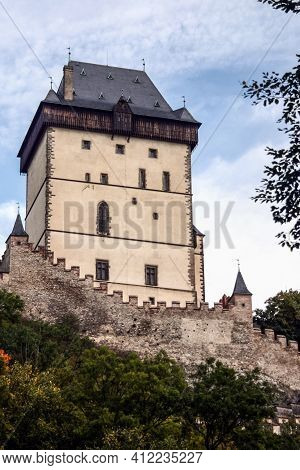 Main Medieval Dungeon Of Hrad Karlstejn Castle During An Autumn Afternoon. Karlstejn Is A Gothic Cas