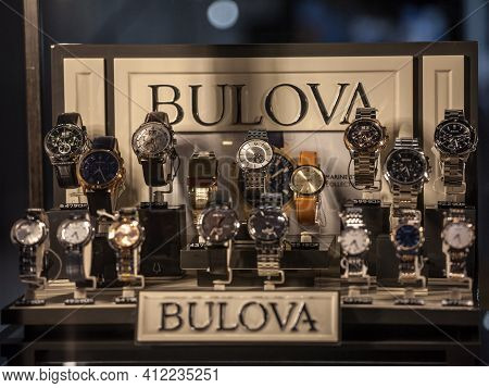 Belgarde, Serbia - August 25, 2020: Bulova Logo In Front Watches On Wristwatches And Chronographs Fo