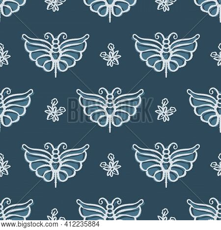 Scandi Gender Neutral Butterfly Seamless Pattern. Elegant Boho Garden Insect All Over Print. Calm Tw