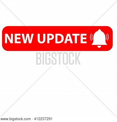 Red New Update Icon On White Background. New Update Symbol. Banner New Update Sign. Flat Style.