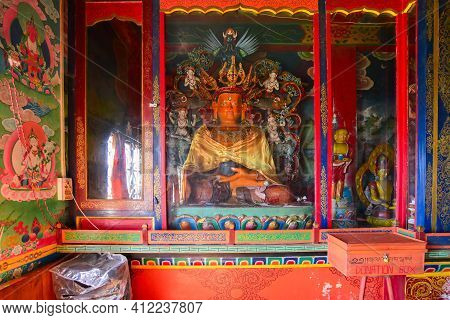 Rinchenpong, Sikkim, India - 17th October 2016 : Religious Statues Of Buddhism At Rinchenpong Monast