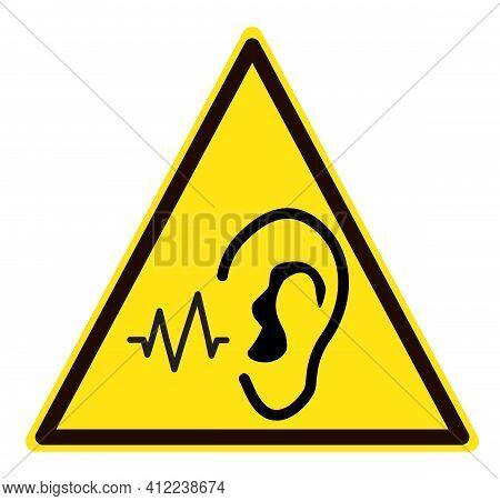 Danger Noise Logo. Loud Noise Hazard Symbol. Sudden Loud Noise Sign. Flat Style.