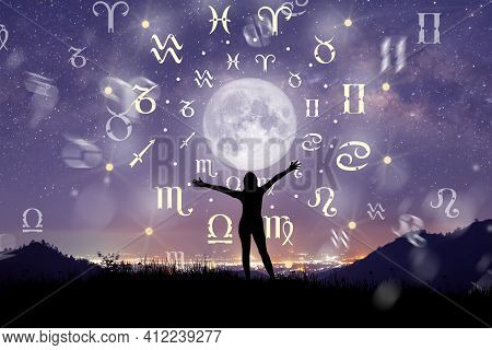 Astrological Zodiac Signs Inside Of Horoscope Circle. Illustration Of Woman Silhouette Consulting Th