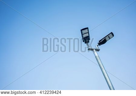 Led Street Light On Blue Sky, Car Park Lamp. Street Furniture