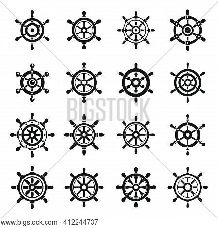 Ship Wheel Controller Icons Set. Simple Set Of Ship Wheel Controller Vector Icons For Web Design On