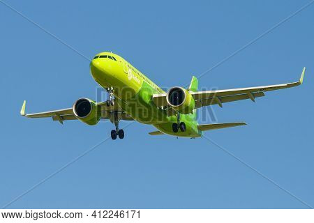 Saint Petersburg, Russia - August 08, 2020: Airbus A320neo (vq-bcr) Of S7 - Siberia Airlines On The