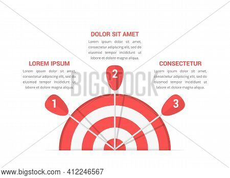 Target With Three Arrows, Three Steps To Your Goal, Infographic Template, Vector Eps10 Illustration