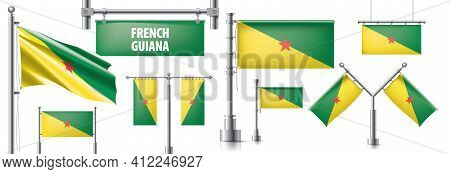 Vector Set Of The National Flag Of French Guiana In Various Creative Designs