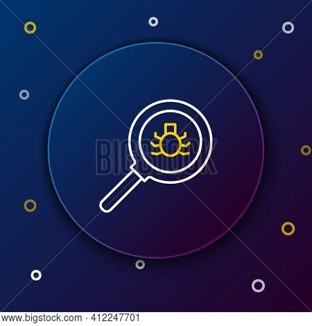 Line Flea Search Icon Isolated On Blue Background. Colorful Outline Concept. Vector