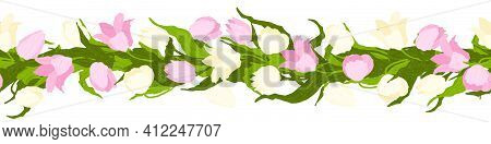 Seamless Border Of Tulips Flowers. Vector Illustration, Background, Pattern, Print For Packaging Pap
