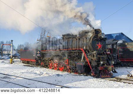 Sortavala, Russia - March 10, 2017: The Last Soviet Mainline Steam Locomotive Lv-0522 On The Sortava