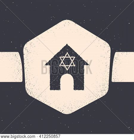 Grunge Jewish Synagogue Building Or Jewish Temple Icon Isolated On Grey Background. Hebrew Or Judais