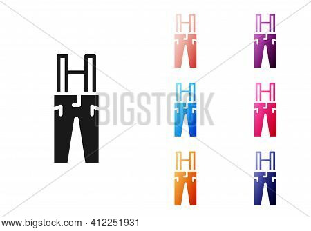 Black Pants With Suspenders Icon Isolated On White Background. Set Icons Colorful. Vector