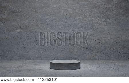 Cylinder Concrete Pedestal On Grey Cement Background. Platform, Pedestal, Podium. 3d Rendering.