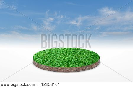 3d Rendering, Circle Podium Of Land Meadow. Soil Ground Cross Section With Green Grass Over Blue Sky