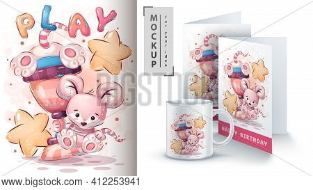 Winner Mouse With A Cup - Poster And Merchandising.