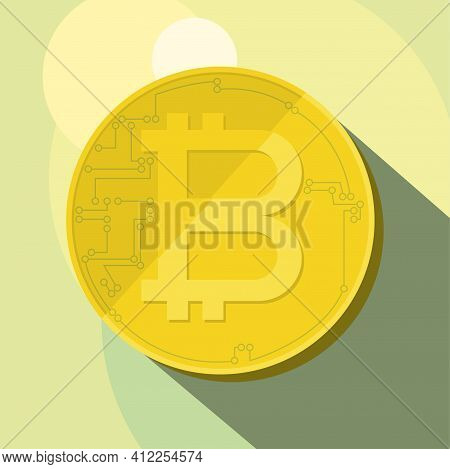 Vector Icon Of Gold Coin With The Letter B And Elements Of Tracks And Pins Of A Printed Circuit Boar
