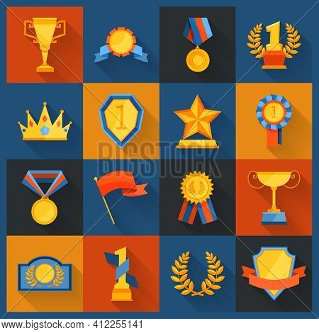 Award Icons Set Flat Of Cup Prize Ribbon Medal Figurine Isolated Vector Illustration