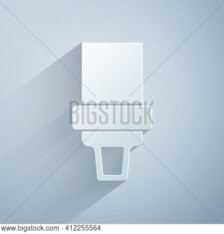 Paper Cut Safety Belt Icon Isolated On Grey Background. Seat Belt. Paper Art Style. Vector
