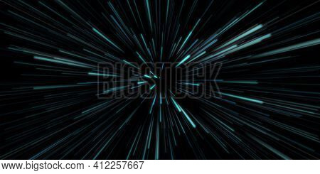 Hyper Space Jump Through the Universe in Motion in Blue