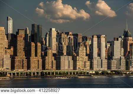 New York City NYC Manhattan Downtown Skyline, viewed from Jersey City, New Jersey, USA.
