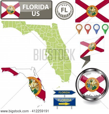 Map Of Florida State, Us With Flag And Counties. Vector Image