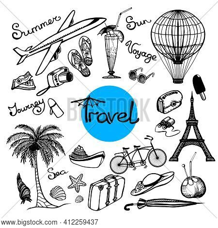 Travel Doodle Set With Glasses Cocktail Baggage Map Isolated Vector Illustration