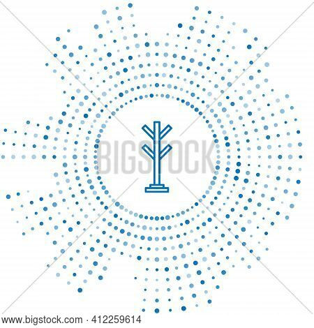 Blue Line Coat Stand Icon Isolated On White Background. Abstract Circle Random Dots. Vector