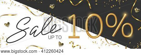 10 Off Discount Promotion Sale Made Of Realistic 3d Gold Number With Sepantine And Tinsel. Vector