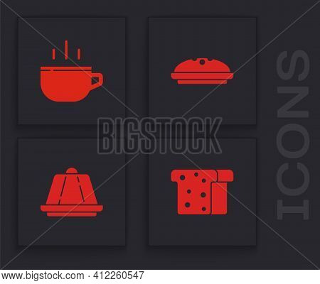 Set Bread Toast, Coffee Cup, Homemade Pie And Pudding Custard Icon. Vector