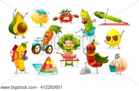 Funny Fruits And Vegetables Cartoon Character. Vegetables And Fruits Go In For Sports, Prepare Food,