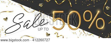50 Off Discount Promotion Sale Made Of Realistic 3d Gold Number With Sepantine And Tinsel. Vector