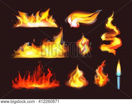 Realistic Fire Flames Set. Red Burning Fire Flame And Orange Hot Flaming Heat Explosion Cartoon, Hot