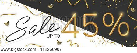 45 Off Discount Promotion Sale Made Of Realistic 3d Gold Number With Sepantine And Tinsel. Vector